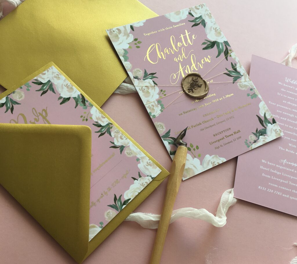 modern wedding invites with wax seal