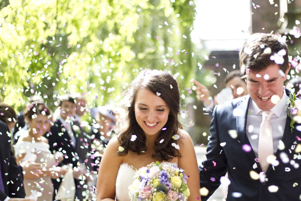 Confetti shower Liverpool Wedding Bride and groom
