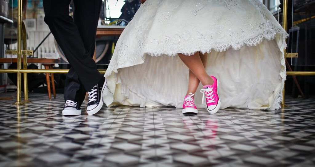 Converse bride and groom