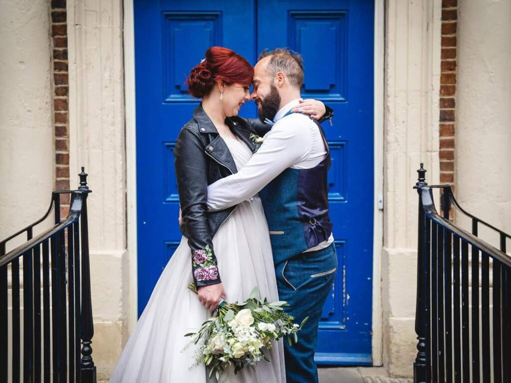 Bride and groom outside bluecoat liverpool