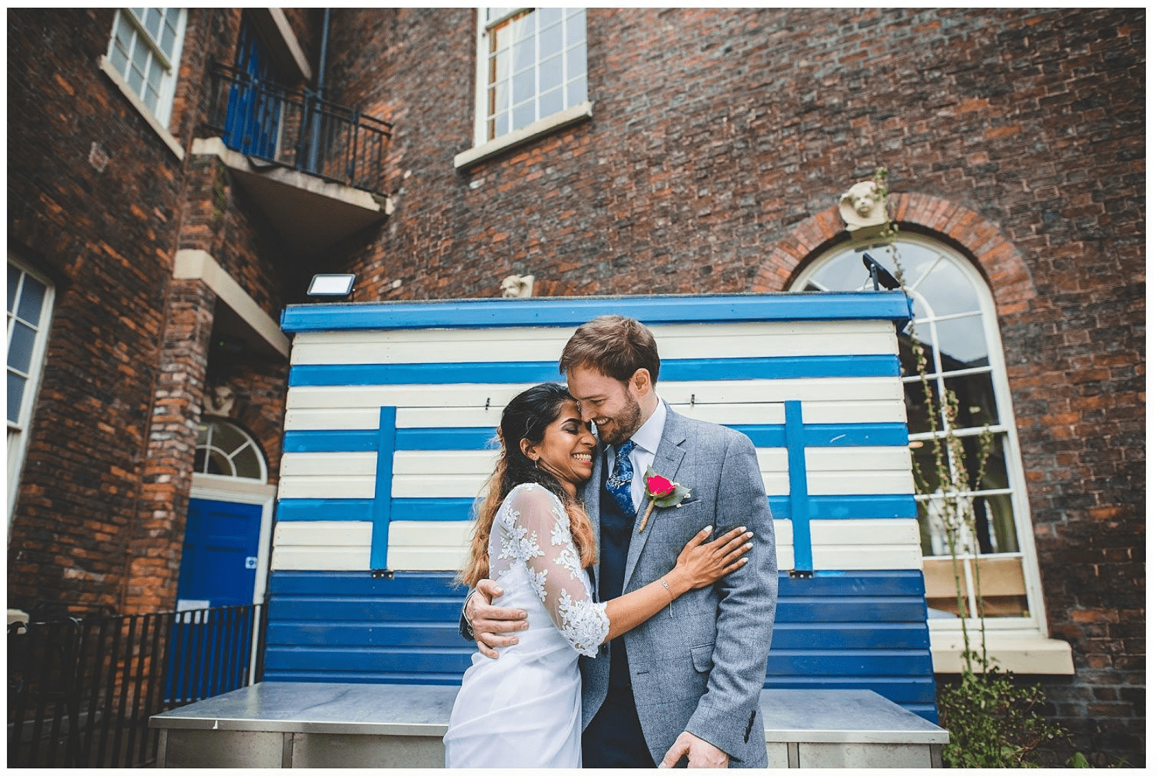 Emma Hiller Photography at Bluecoat Liverpool wedding Bride and Groom in courtyard