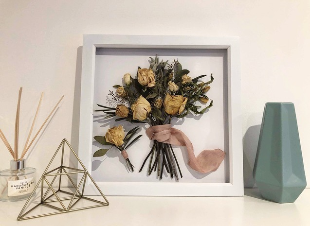 Framed dried wedding bouquet on display by Olive owl Flowers