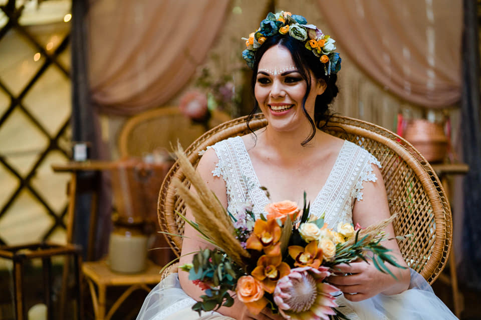 King protea bouquet and bride with floral crown