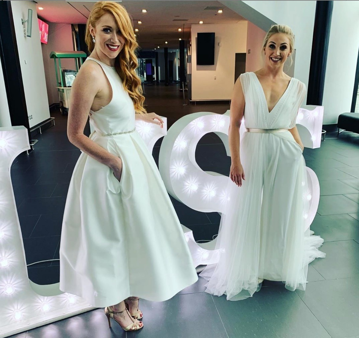 Models wearing wedding dresses by White Closet Studio in Liverpool