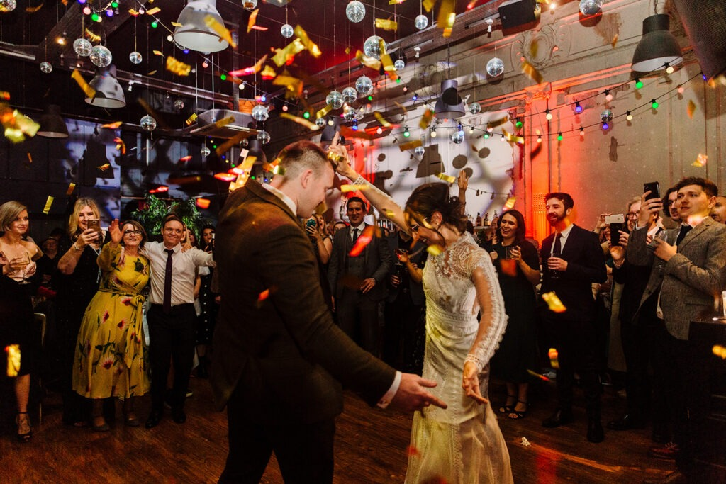Bride and groom dancing at wedding in Liverpool