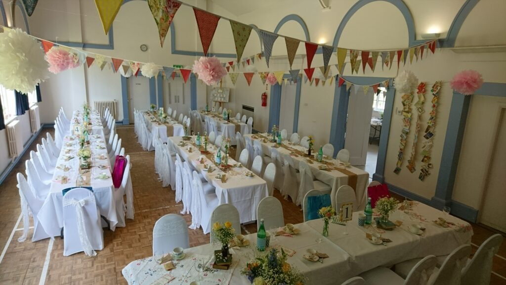 Wedding decor with bunting
